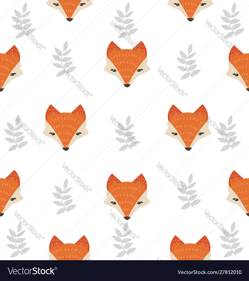 Cute fox head with leaves seamless pattern