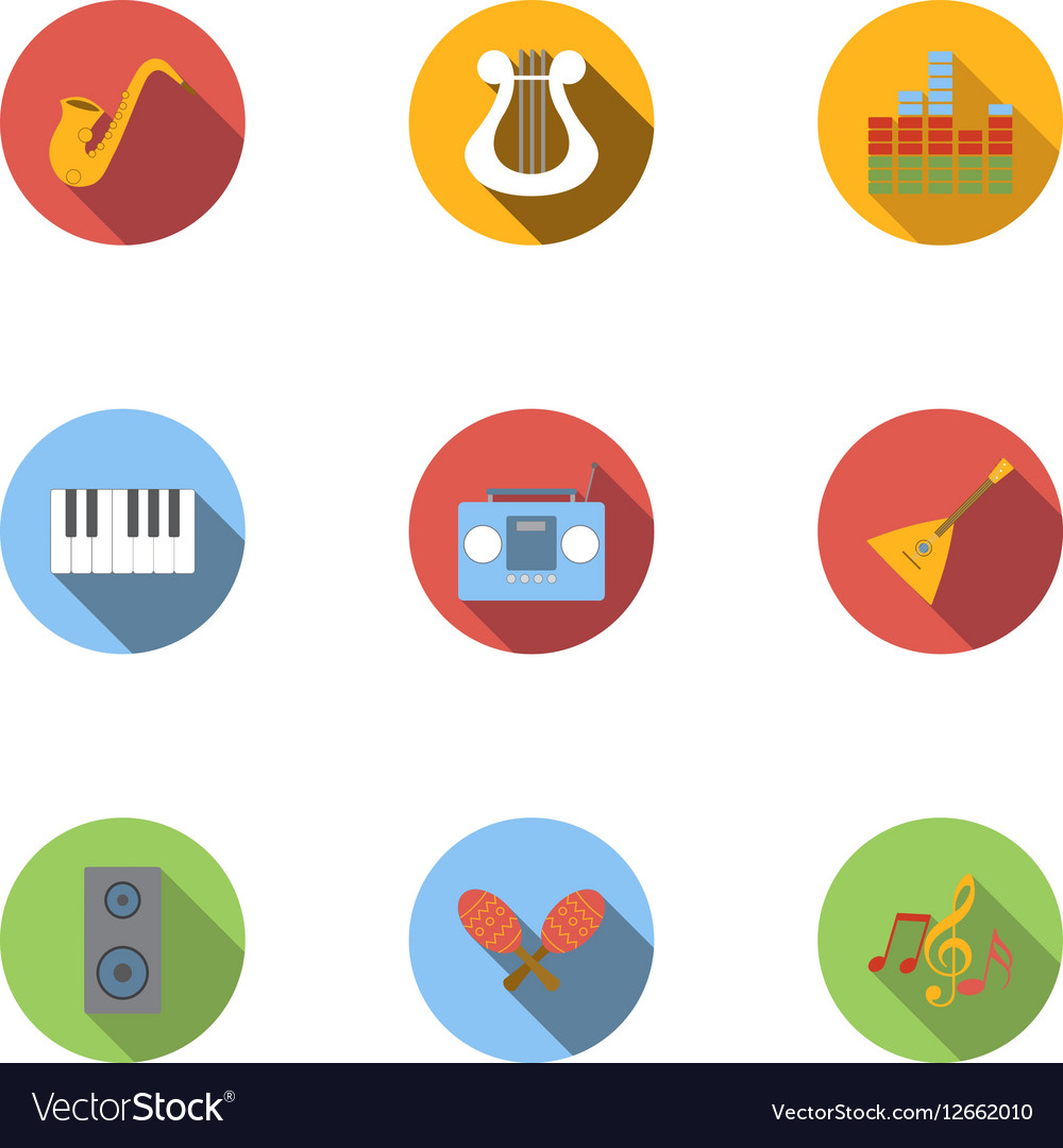 Device for music icons set flat style