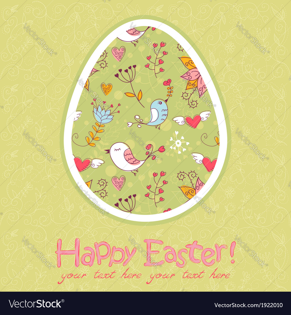 Easter egg cute floral card