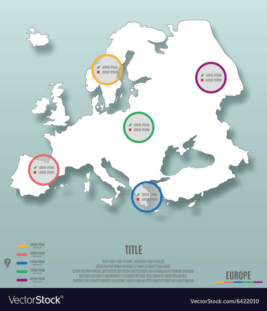 Europe continent template for infographics