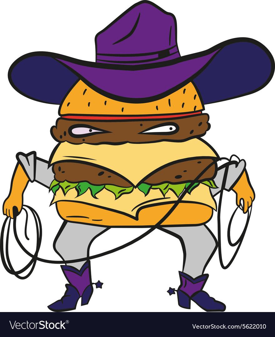 Funny cowboy burger cheeseburger in a hat and vector image