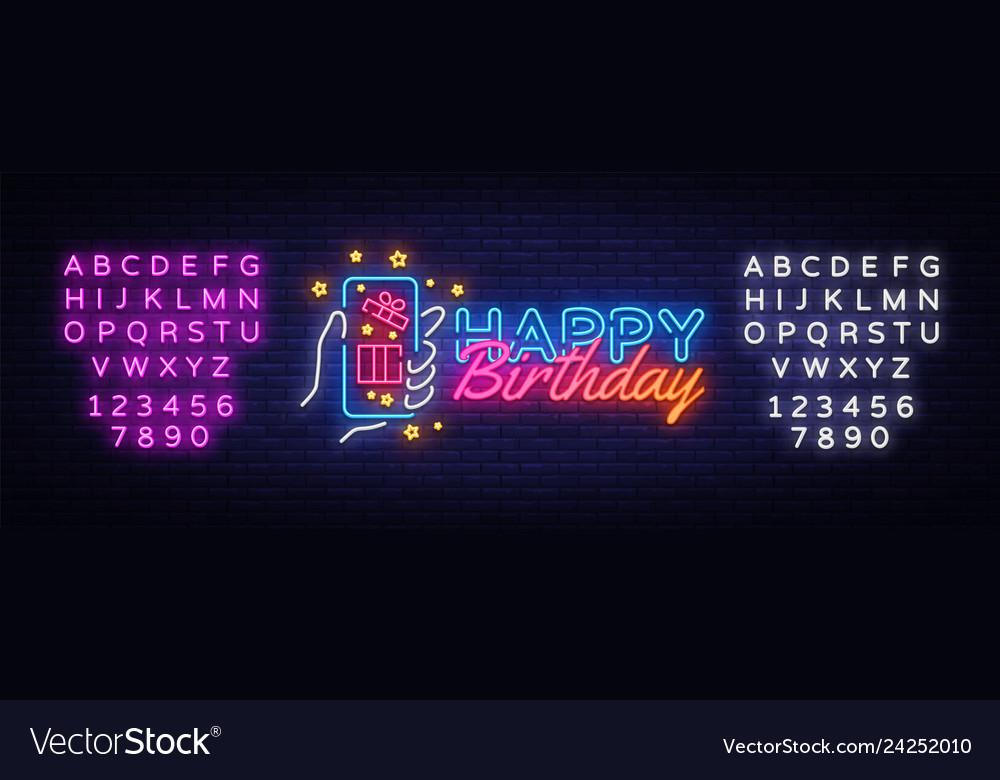 Happy birthday neon sign happy birthday