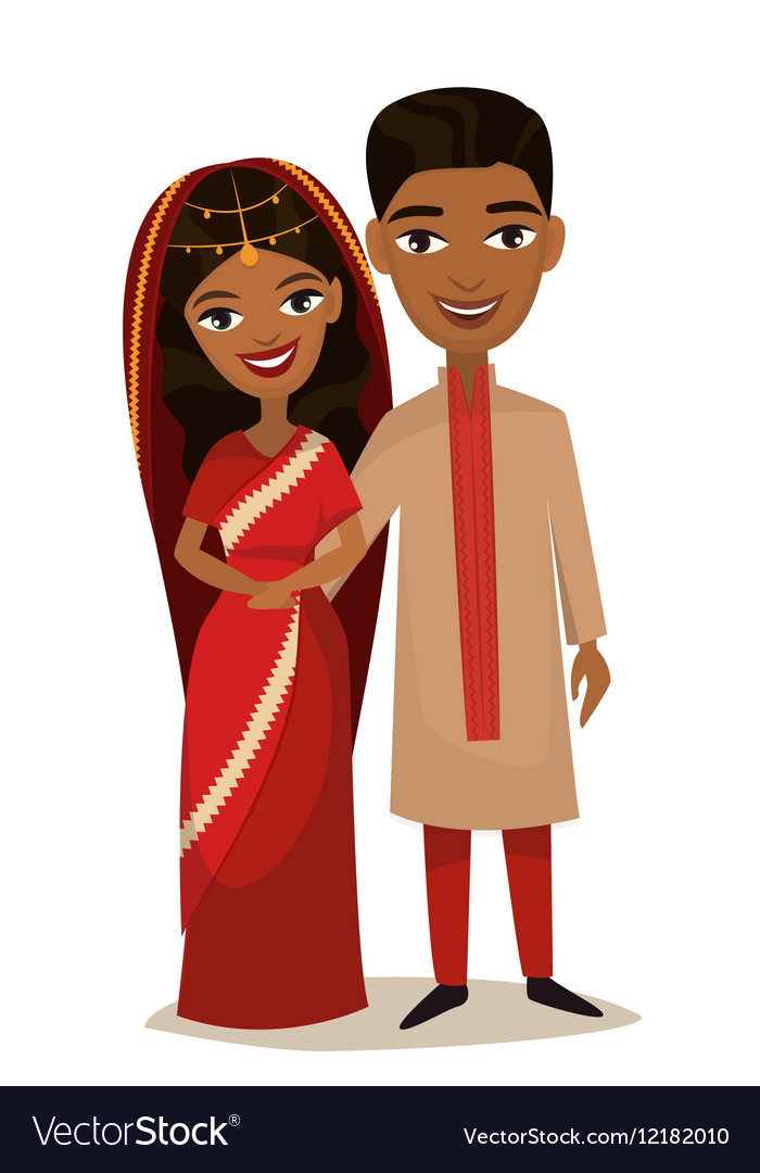 Happy indian young family couple vector image
