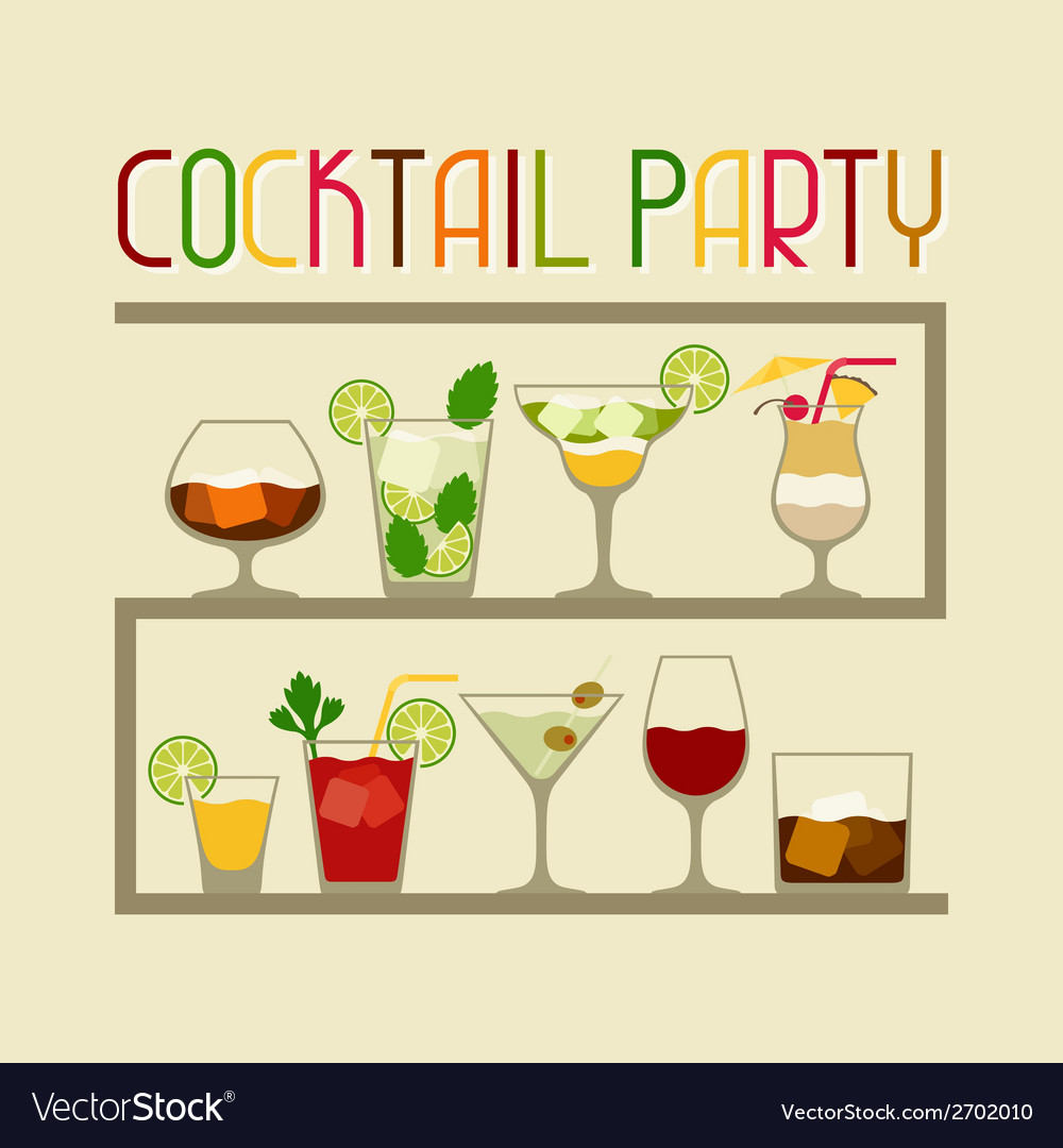 party invitation with alcohol drinks and cocktails