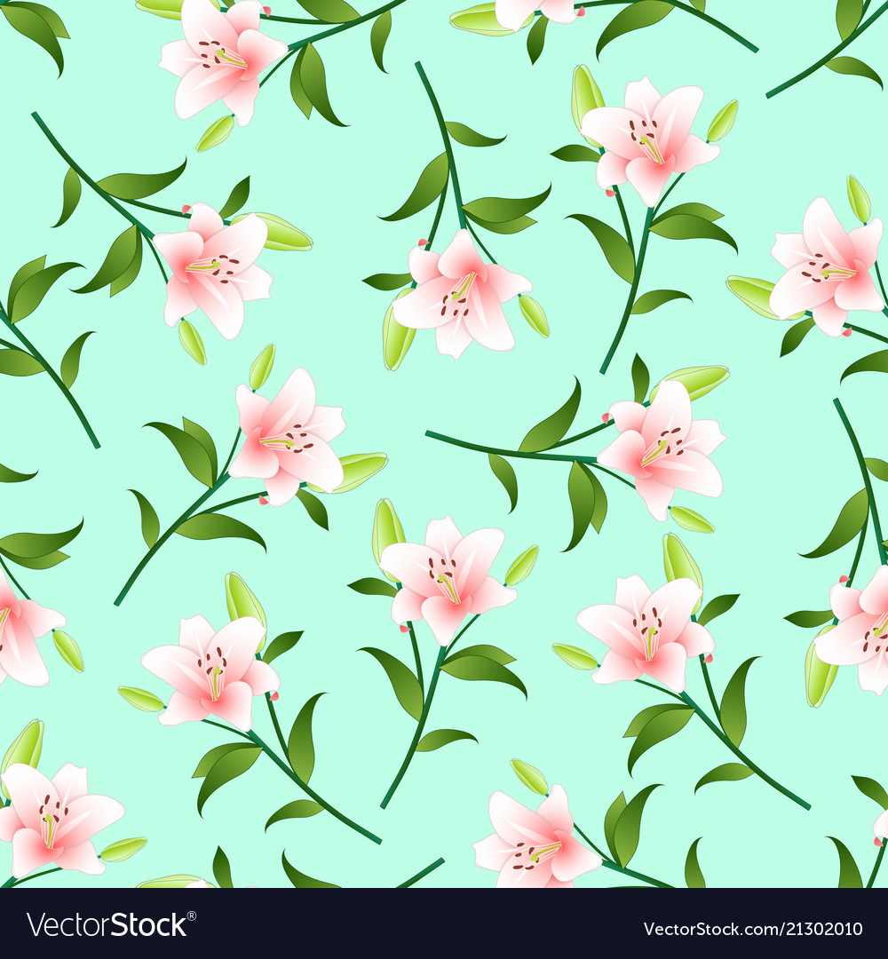 Pink Lily On Green Mint Background Royalty Free Vector Image