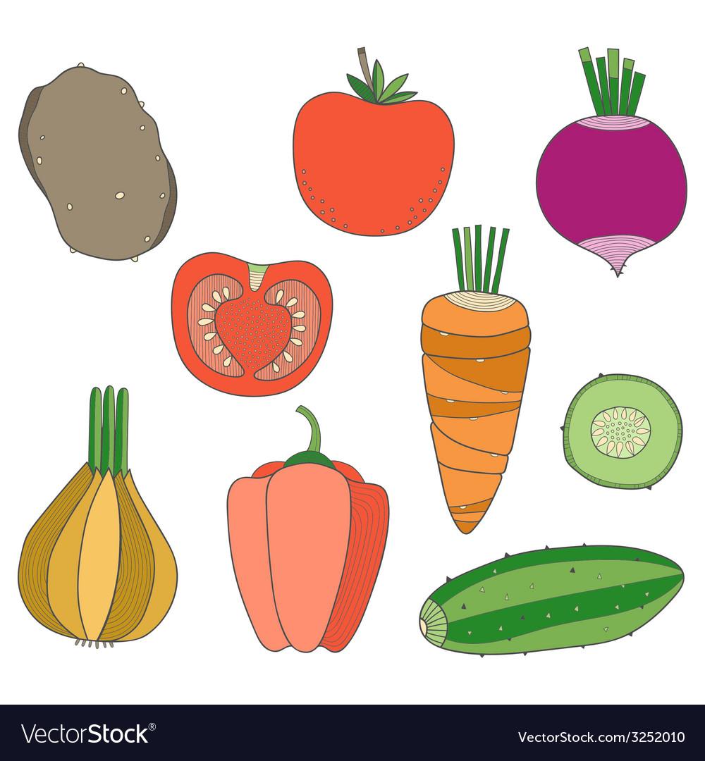 Set of hand drawn vegetables