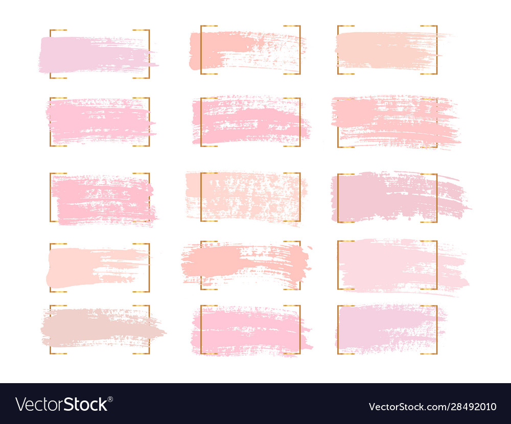 Set pastel brush strokes and spots on a white