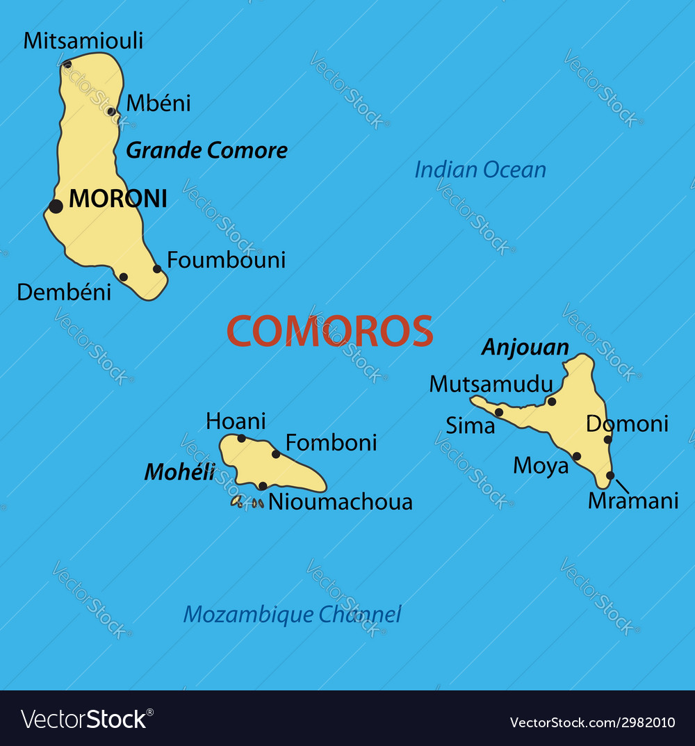 union of the comoros map vector image