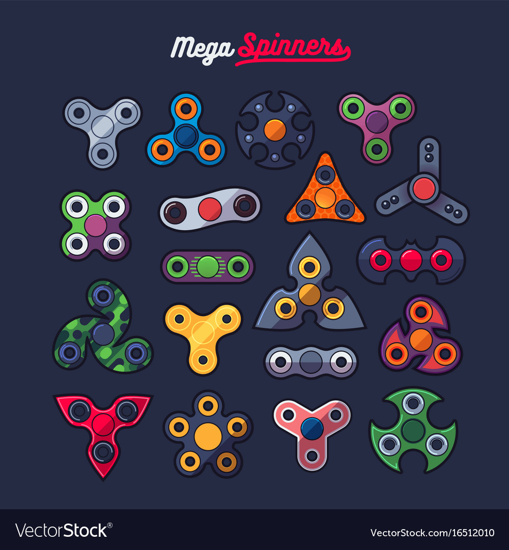 Various spinners shape icons set