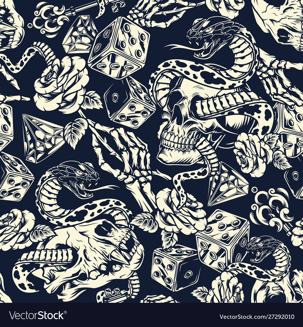Vintage tattoos seamless pattern