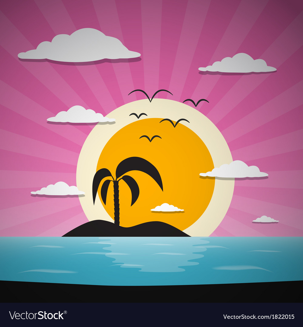 Abstract Sunset Ocean Background with Palm vector image