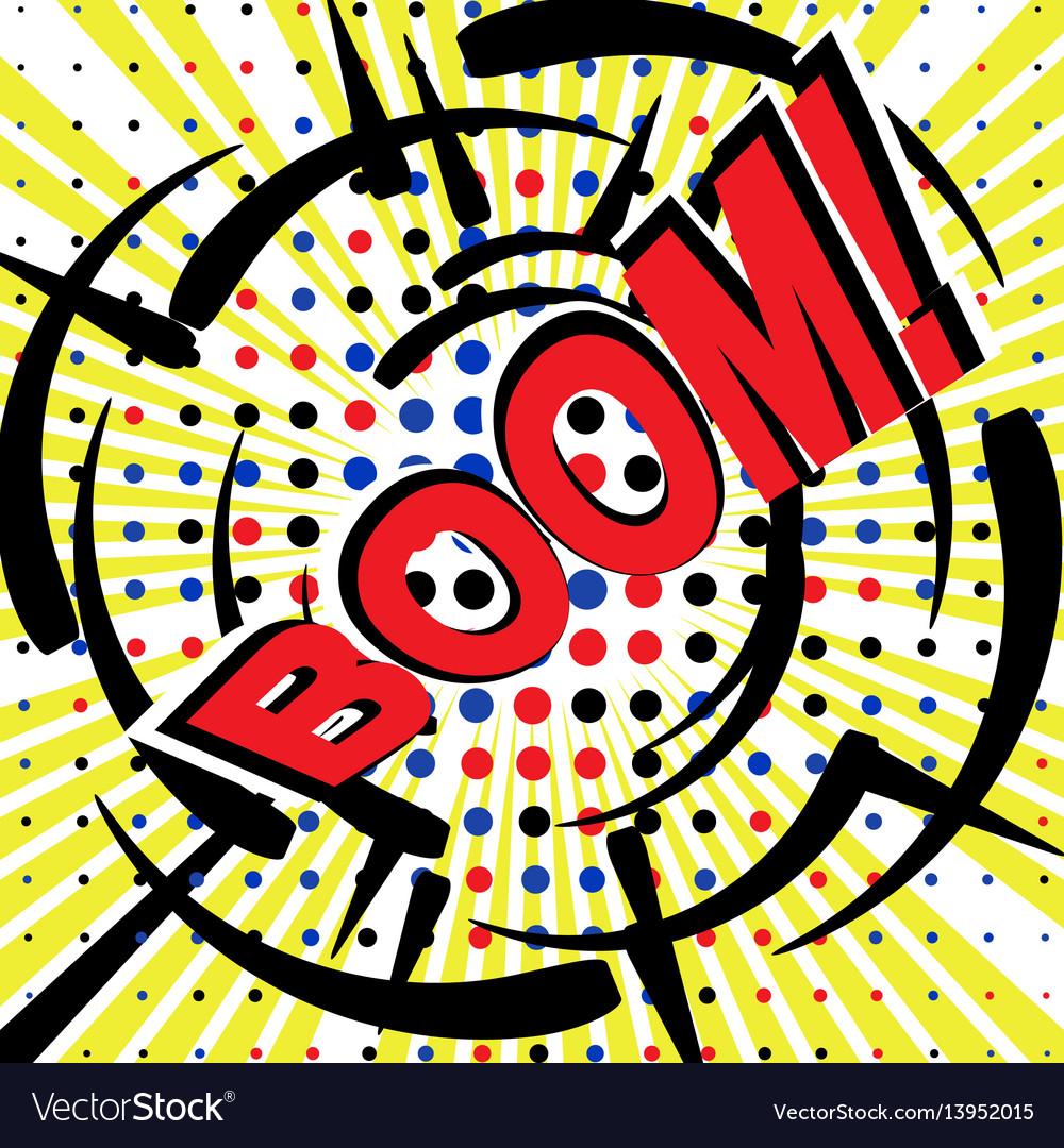 Boom wording sound effect set design for comic vector image