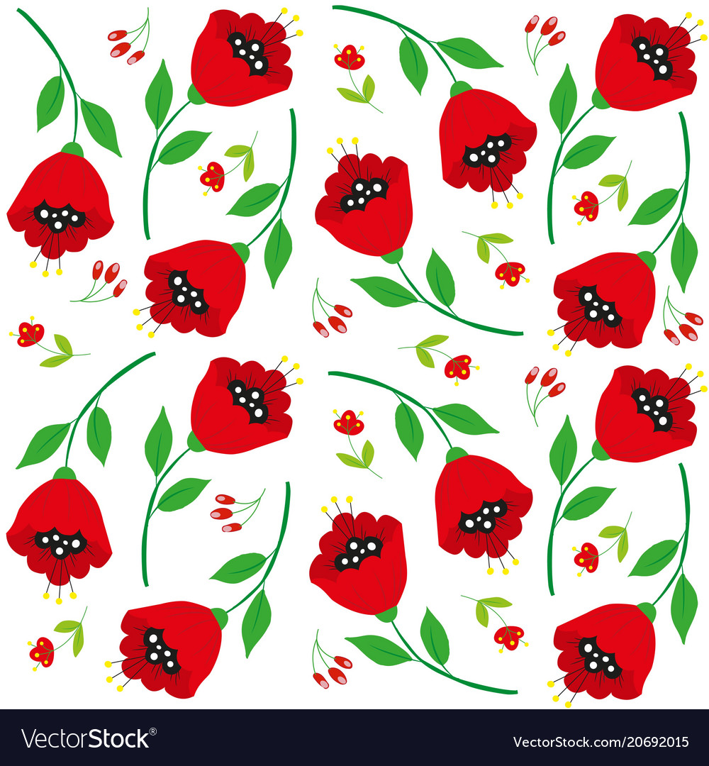 Bright Cartoon Poppy Flowers On White Royalty Free Vector