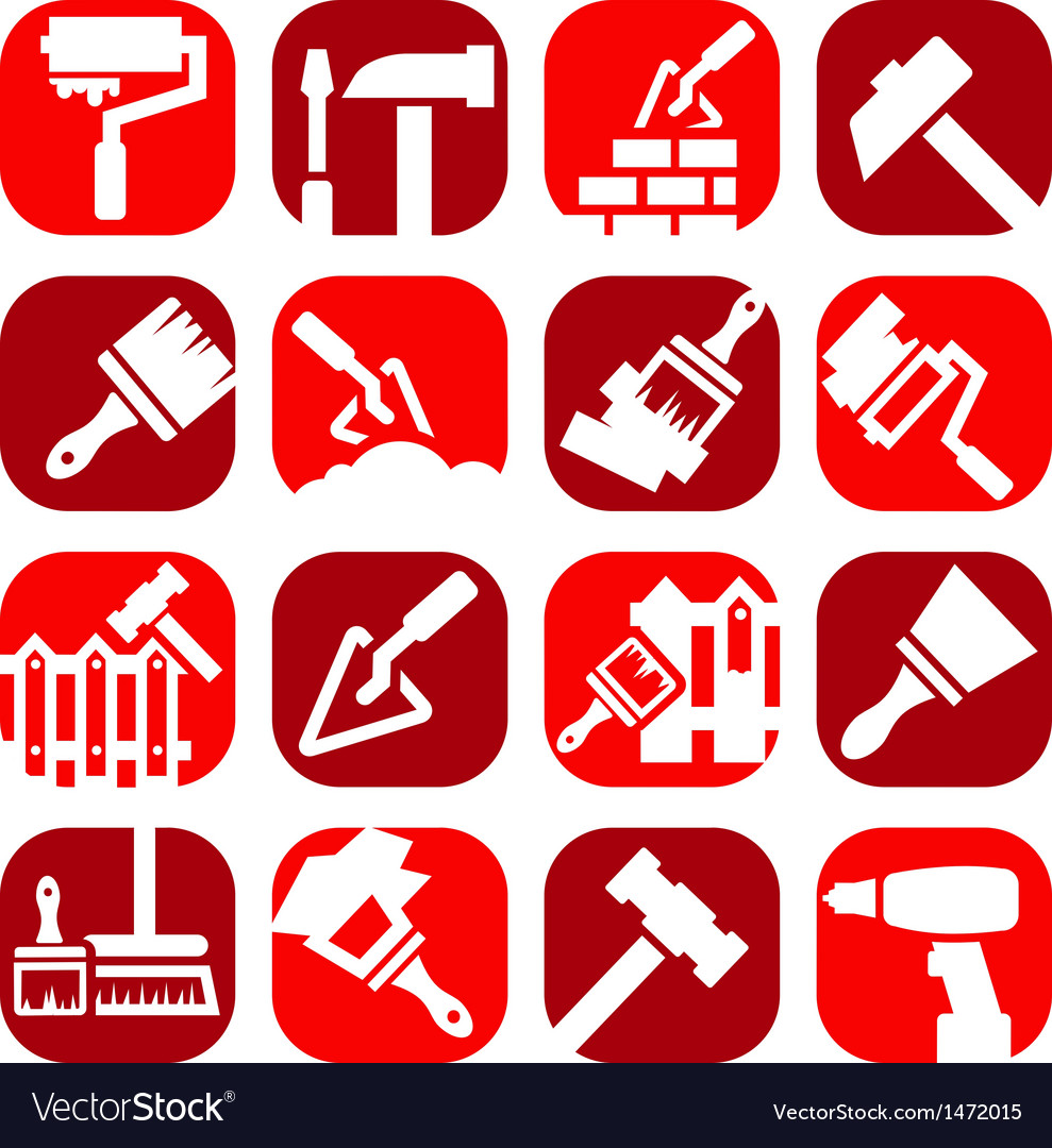Color construction and repair icons vector image