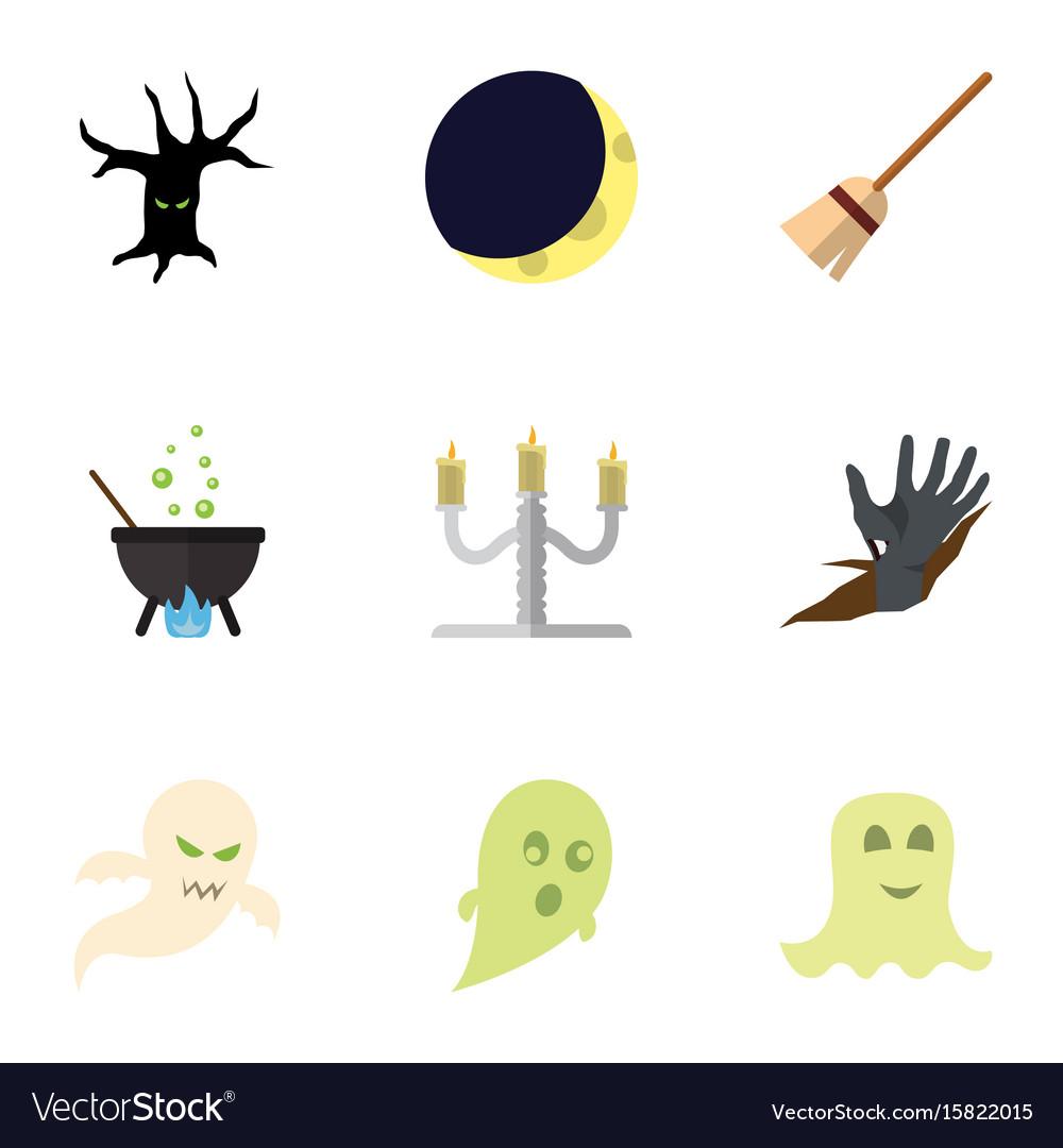 Flat icon celebrate set of terrible halloween