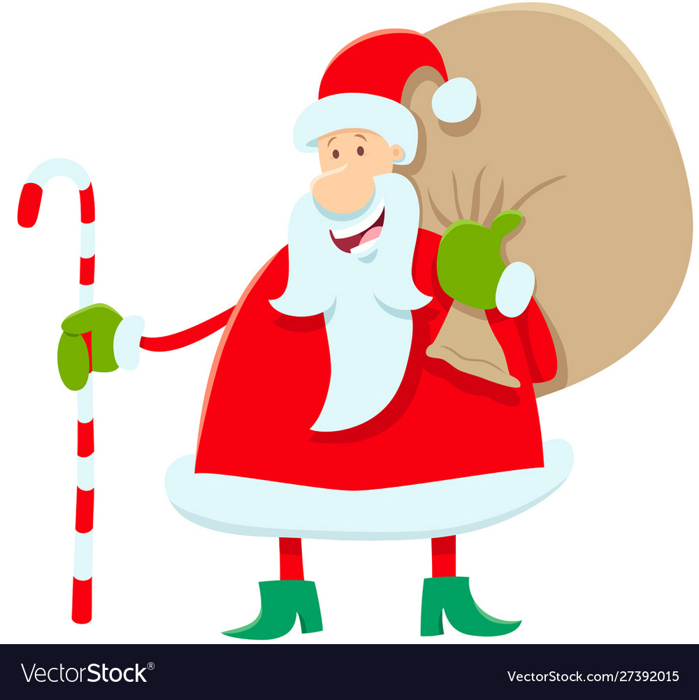 Funny santa claus cartoon character with presents