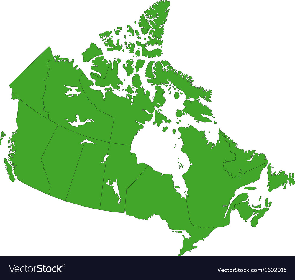 Green Canada map Royalty Free Vector Image VectorStock