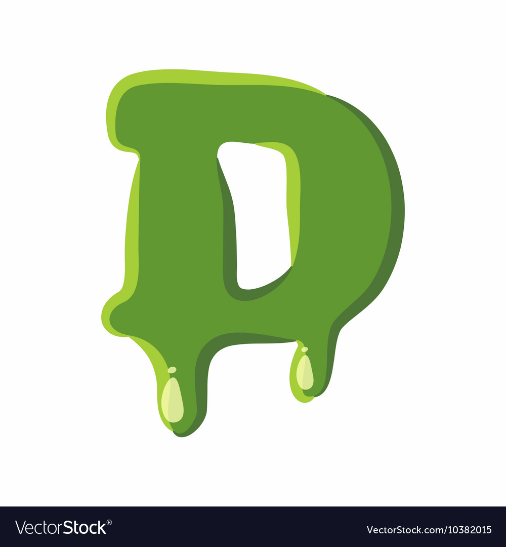 Letter D made of green slime Royalty Free Vector Image