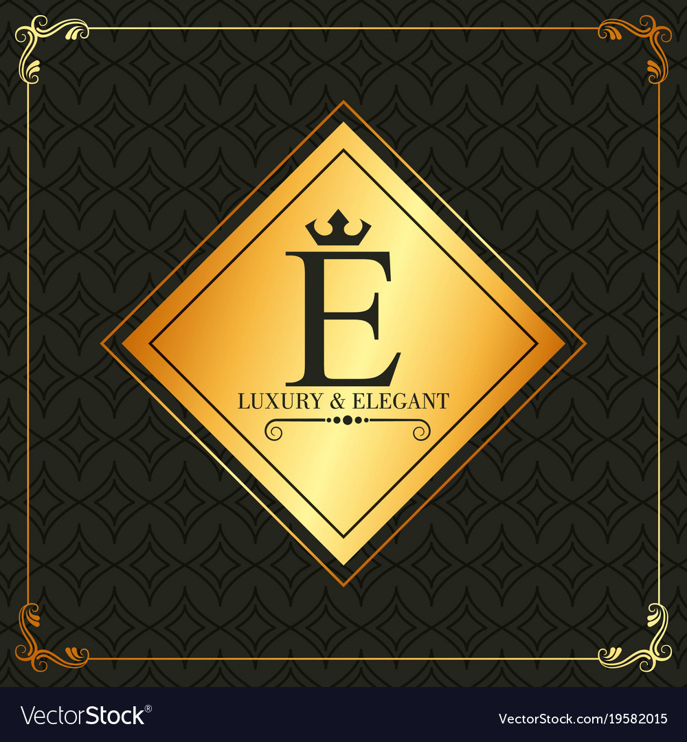 Luxury and elegant e letter frame decoration