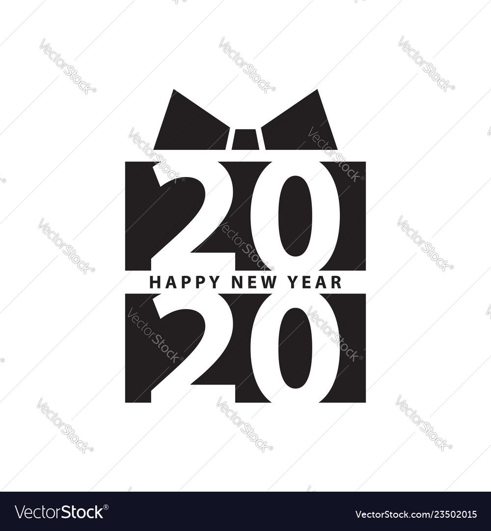 Modern design 2020 happy new year slogan black