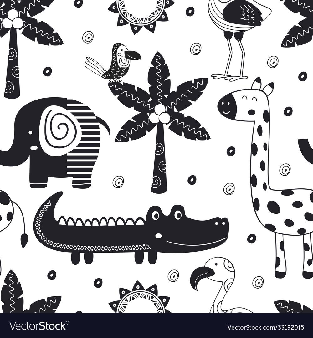 Monochrome seamless pattern with jungle animals