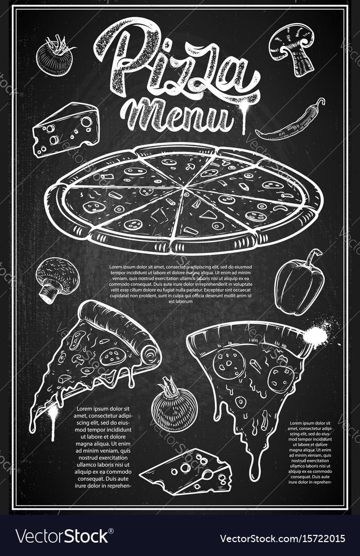Pizza menu cover layout menu chalkboard with hand