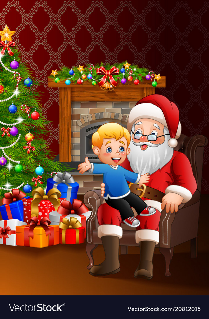 Santa is sitting with a cute little kid christmas Vector Image