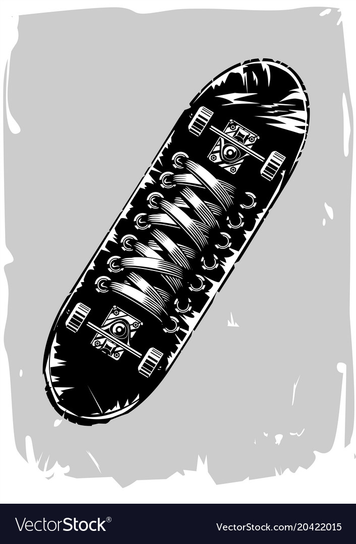 Skateboard with sneakers print on a board vintage