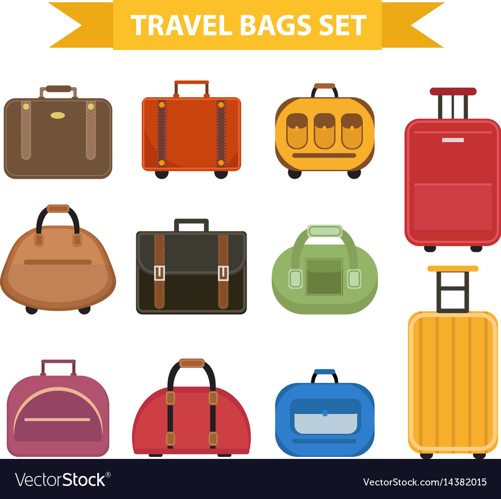 Travel bags icon set flat style isolated on a