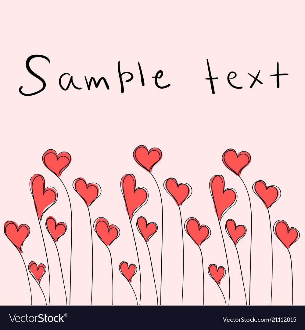 Valentines day card with cute red hearts
