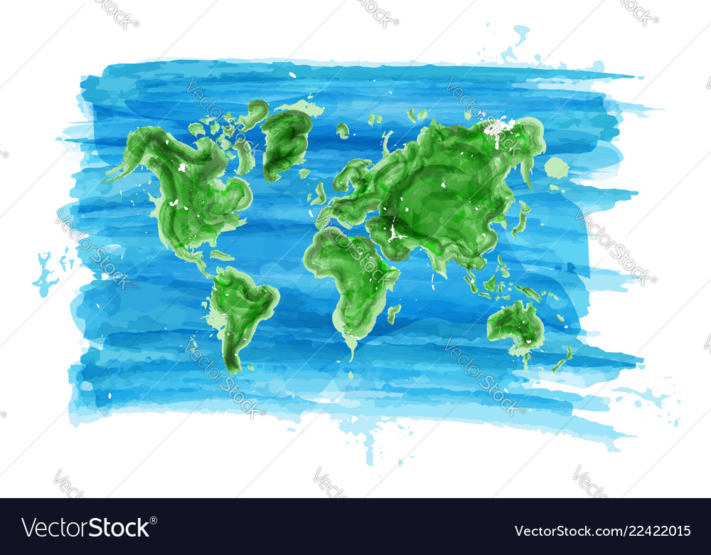 Watercolor painting style of world map