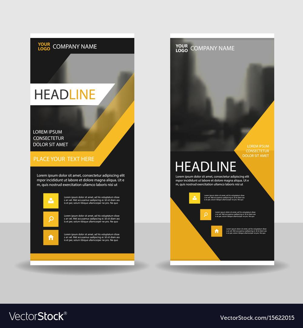 Yello black roll up business brochure flyer banner vector image