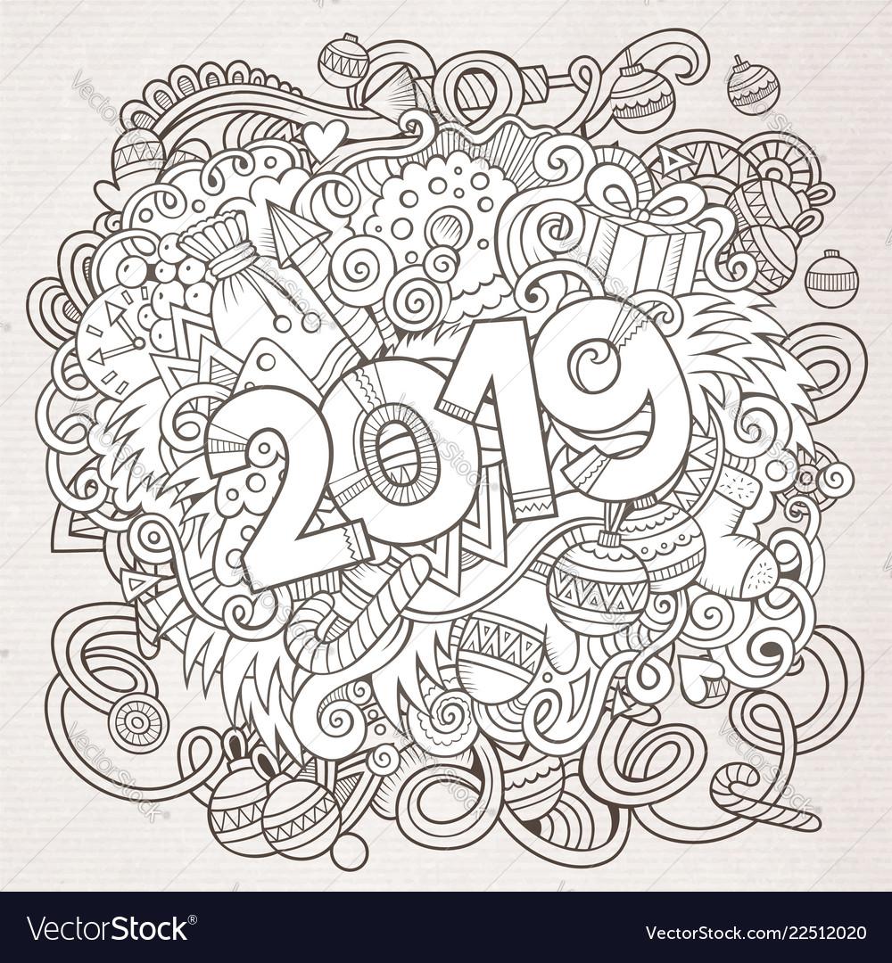 2019 hand drawn doodles contour line