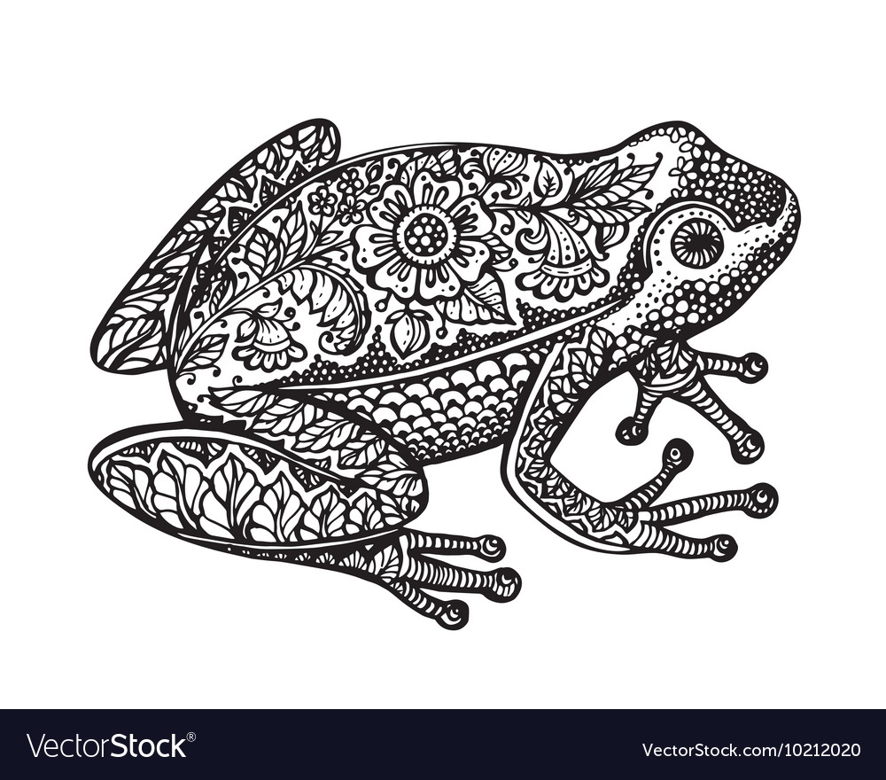 black and white ornate doodle frog in graphic vector image rh vectorstock com Taino Indians of Puerto Rico Coqui Frog Puerto Rico
