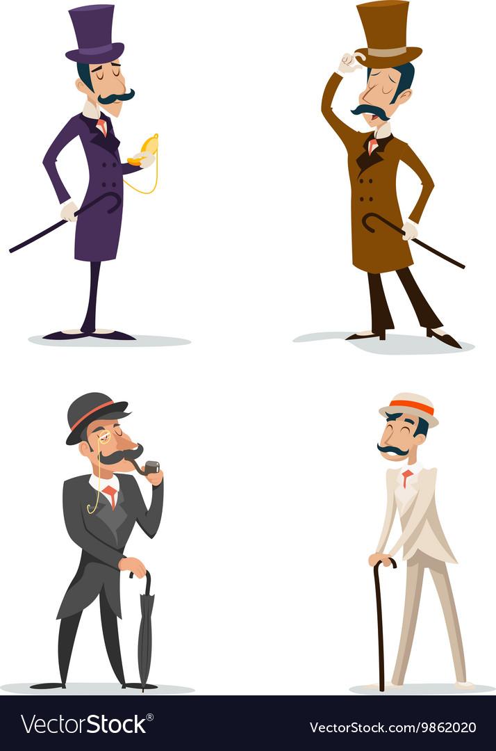 Business Victorian Gentleman Meeting Cartoon