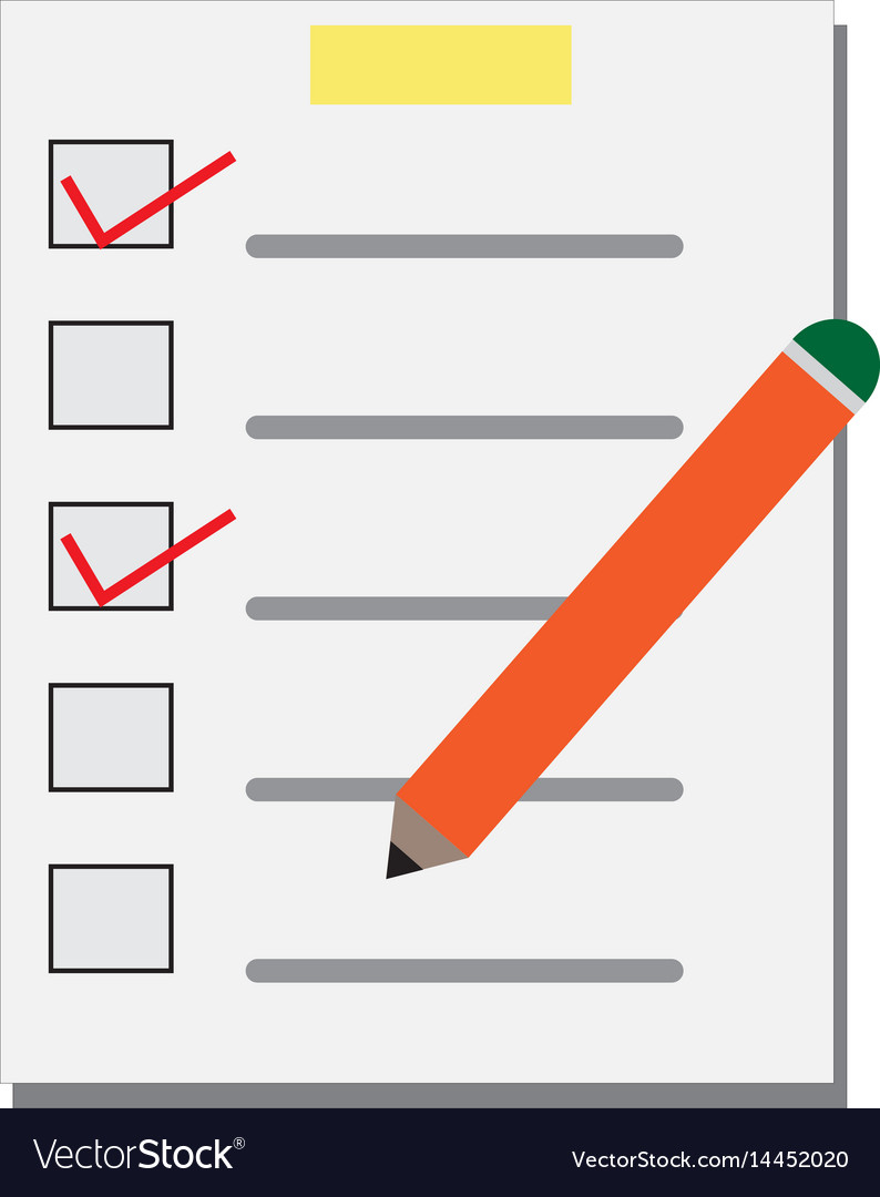 Checklist and pen on white background checklist vector image