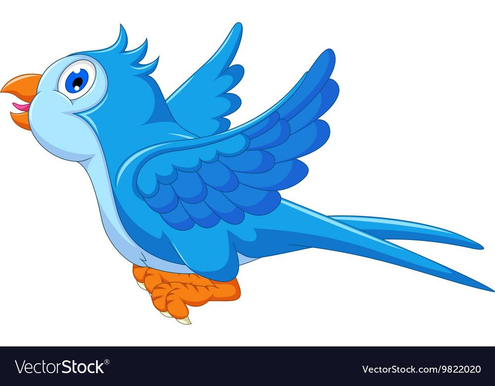Cute Blue Bird Cartoon Flying Royalty Free Vector Image