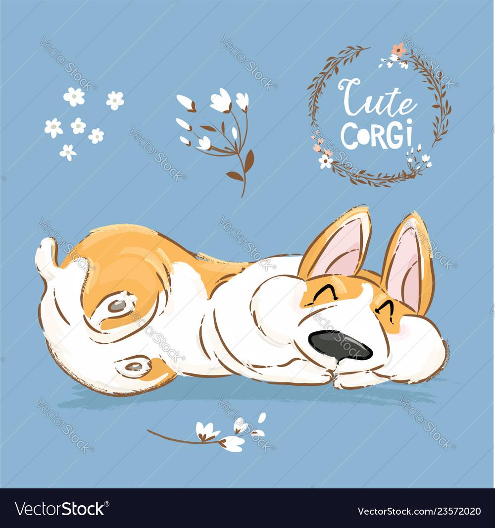Cute Corgi Dog Puppy Sleep Banner Welsh Royalty Free Vector