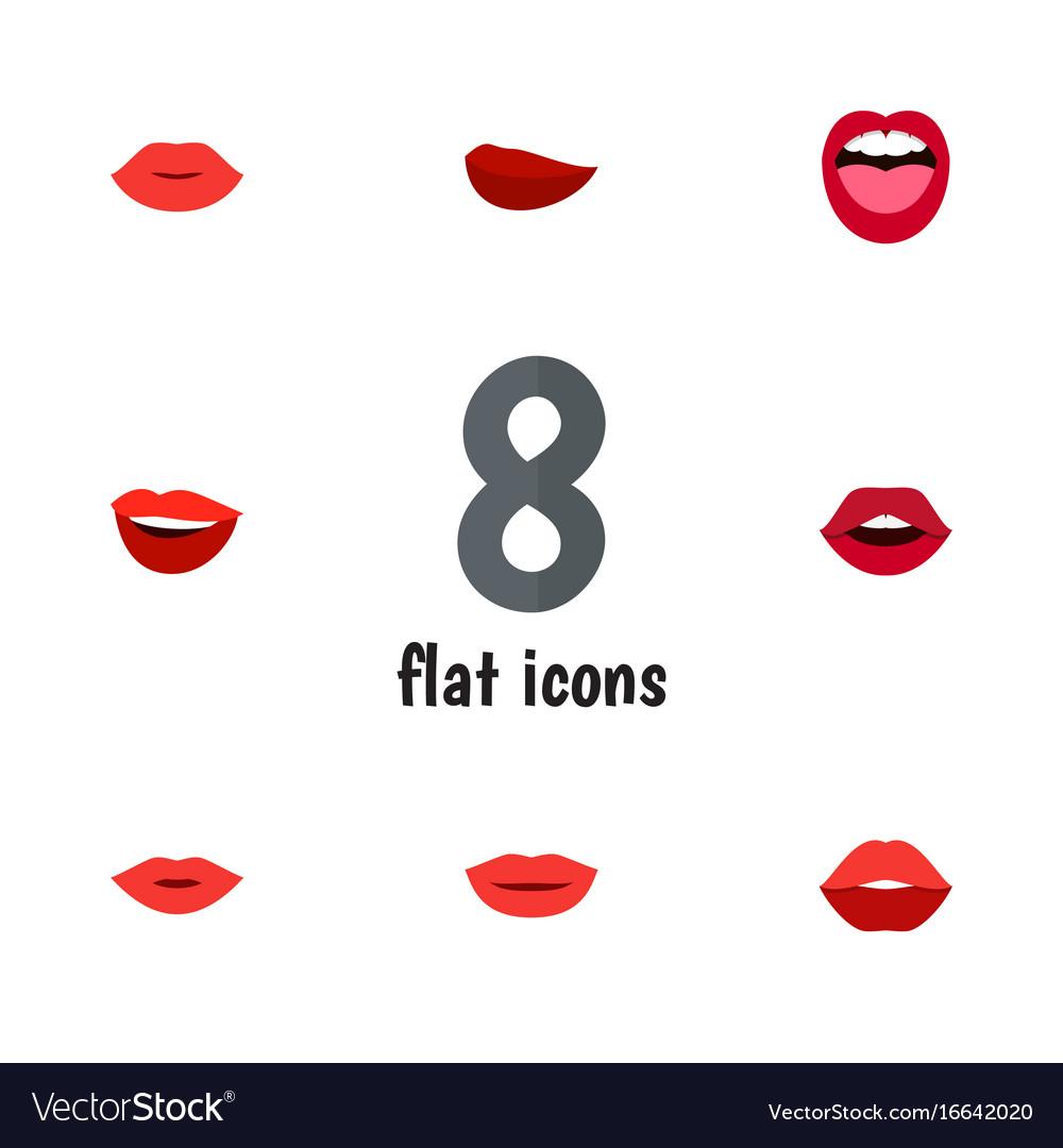 Flat icon lips set of teeth tongue kiss and vector image