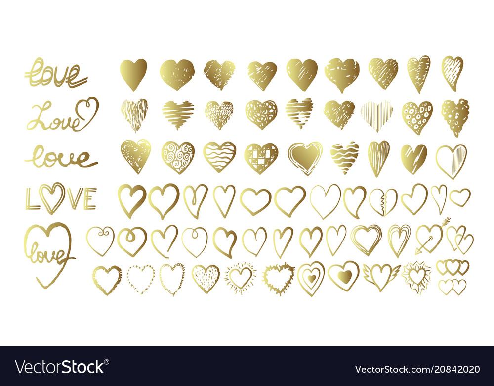 Hand drawn hearts design elements for valentine