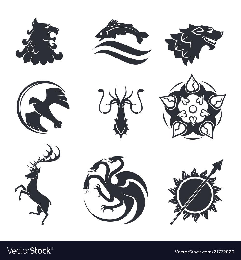 Heraldic gothic animals and birds or fish