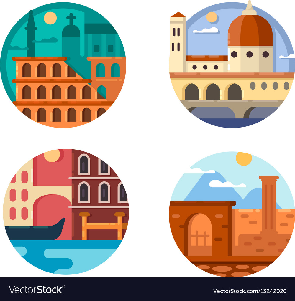 Italy set icon rome and venice