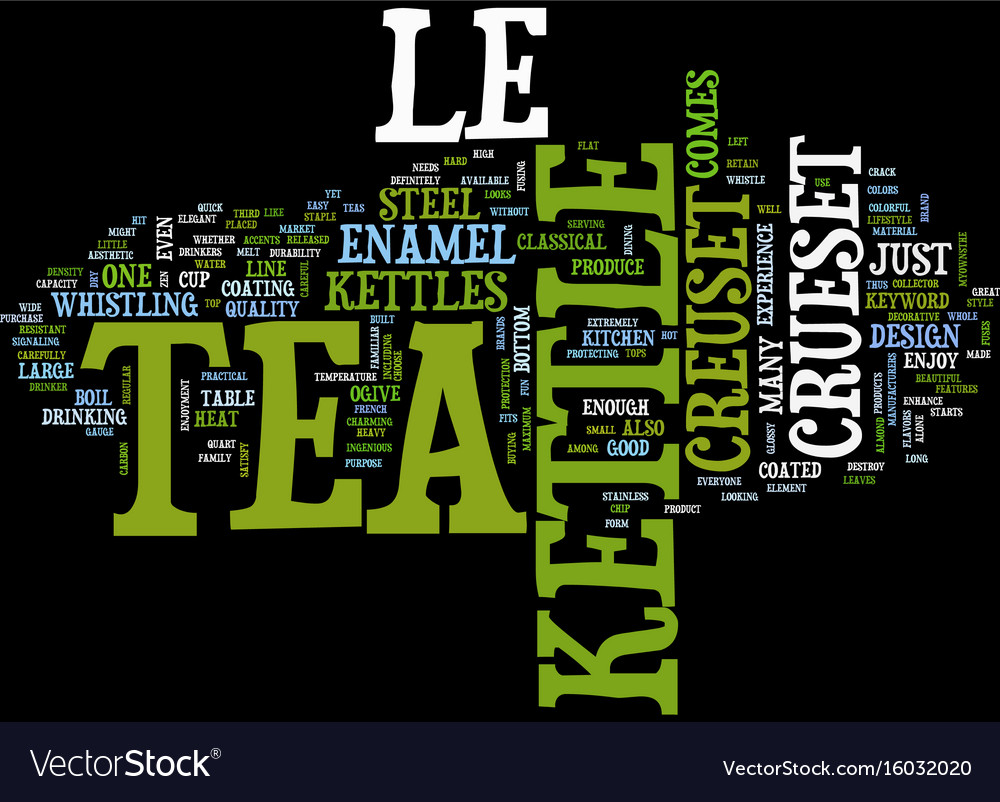 Le crueset tea kettle text background word cloud