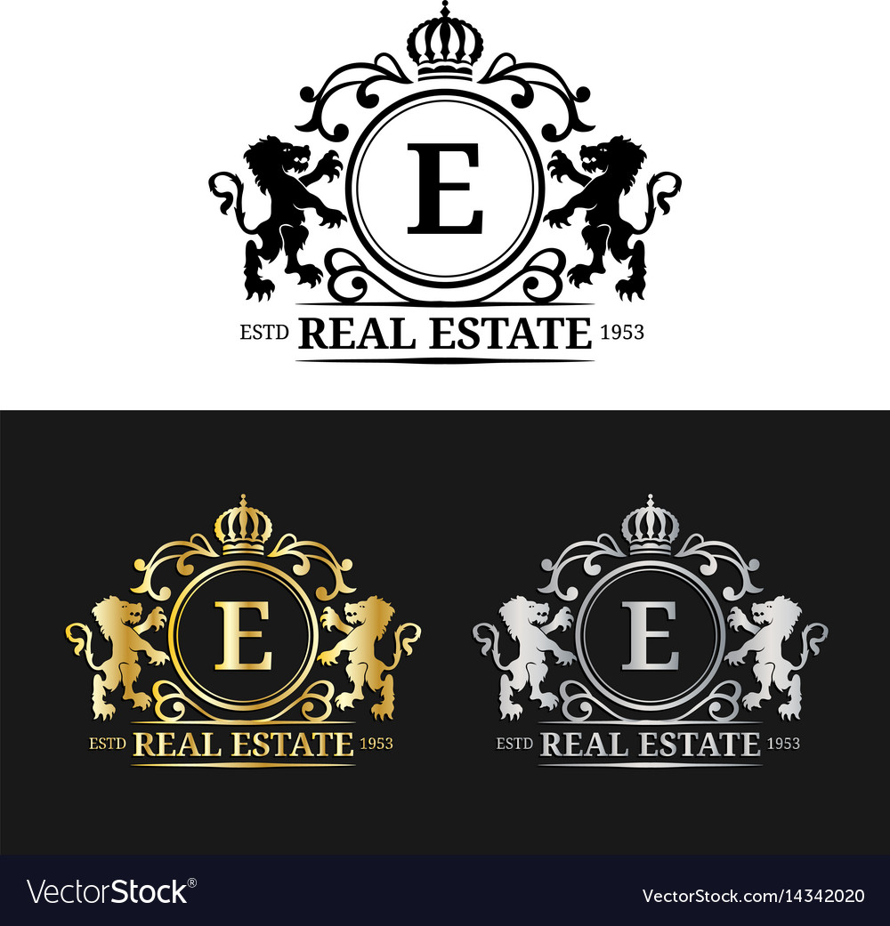 Real Estate Monogram Logo Templatesluxury Vector Image