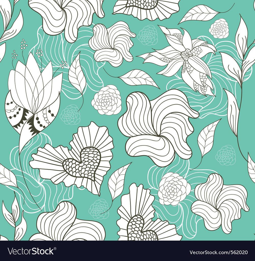 Seamless doodle flowers and hearts pattern