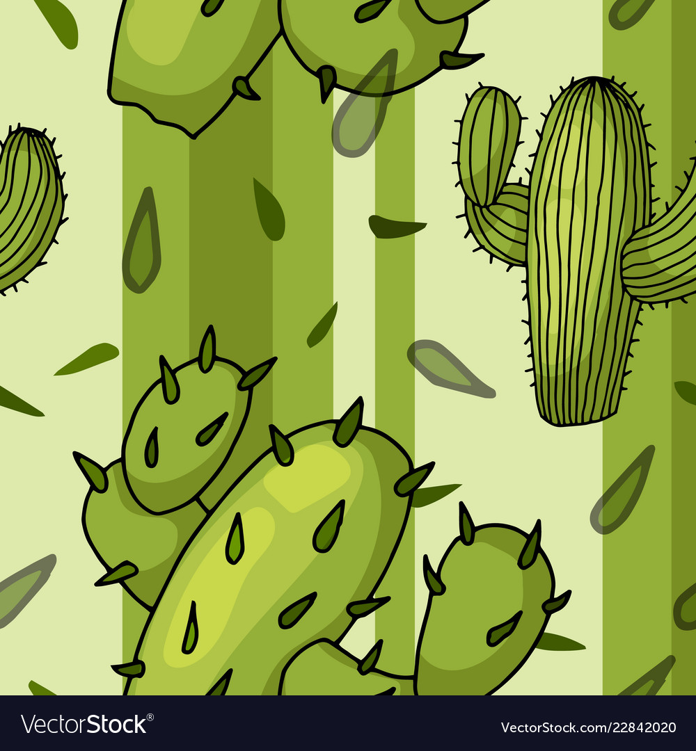 Seamless pattern with cactuses trendy