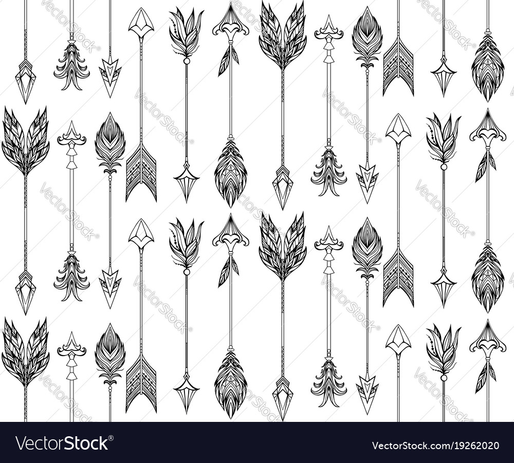 Seamless texture with boho arrows with different