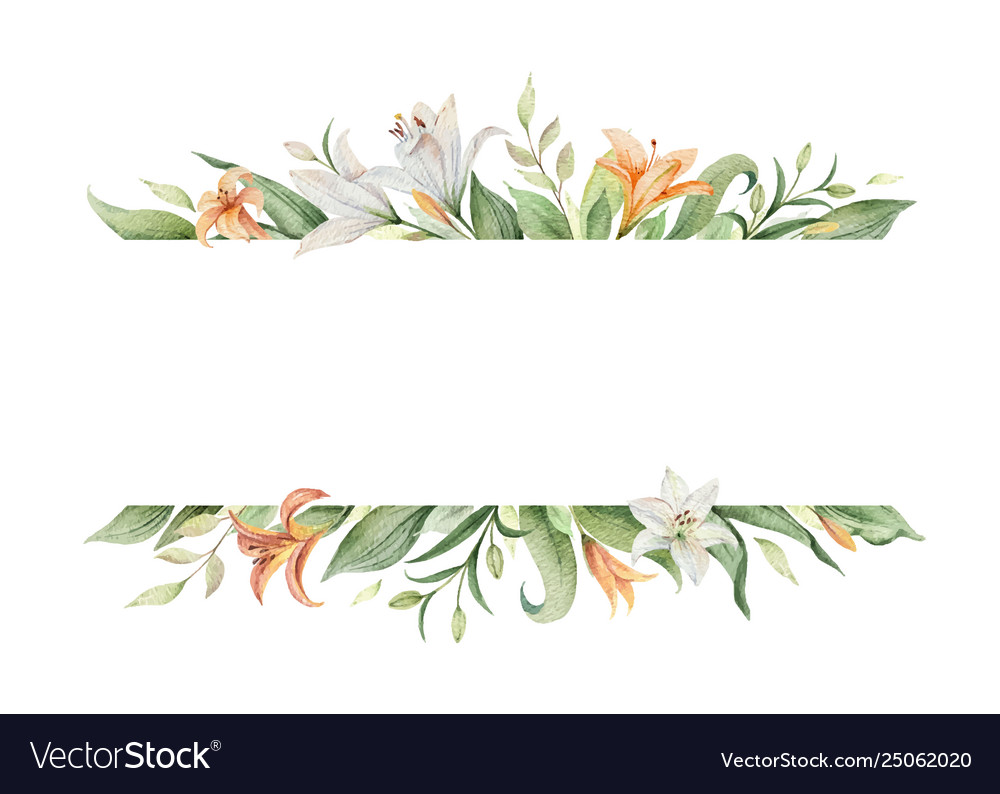 Watercolor banner orange lily flowers