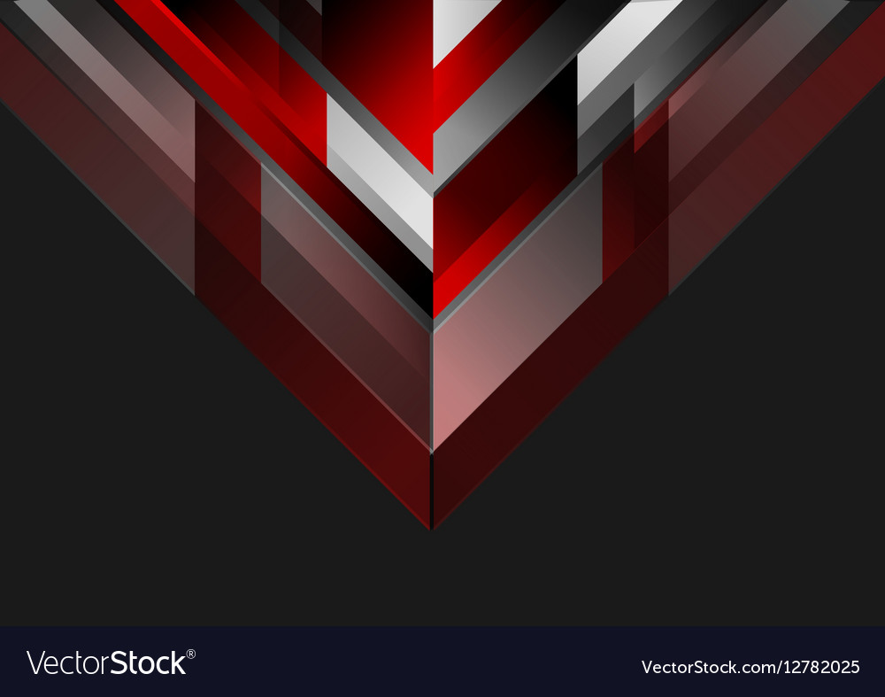 Abstract Tech Geometric Red Black Background Vector Image
