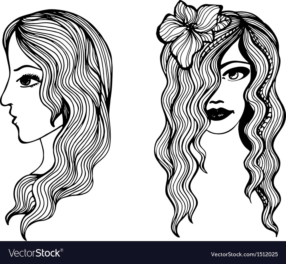 Black and white sketches of beautiful girls vector image